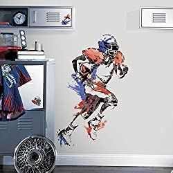 9 Piece Kids Blue Red White Football Wall Decals Set, Sports Themed Wall Stickers Peel Stick, Player Sport NFL Touchdown Running Champion Team Pass Decorative Graphic Mural Art, Vinyl