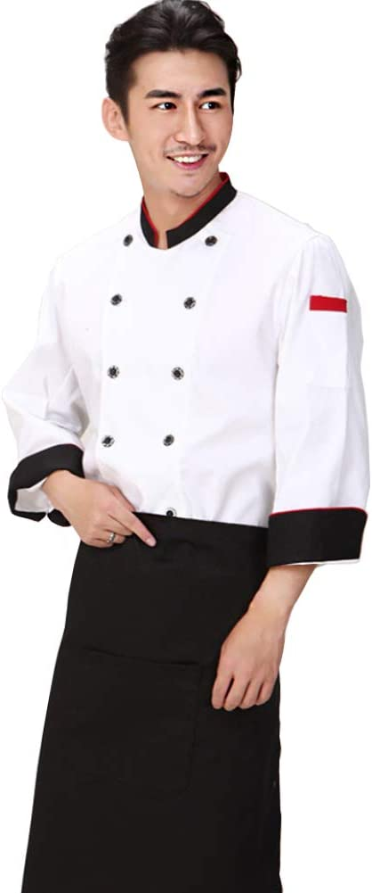 Men Chef Coat Restaurant Cook Working Apparel Hotel Uniform Tops XL Chef Hat