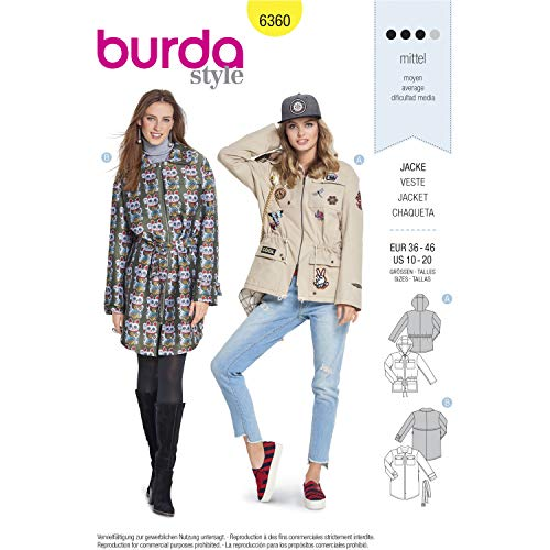 Burda Style Sewing Pattern B6360 - Misses' Jackets, A(10-12-14-16-18-20)