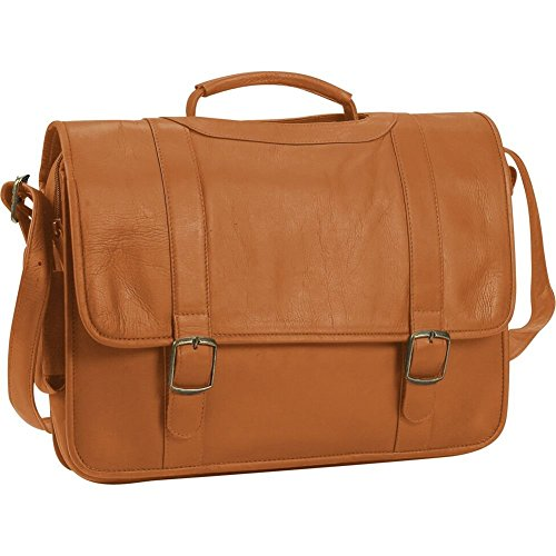 Leather Briefcase w/Inside Organizer in Tan (Porthole Laptop Briefcase)