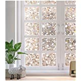 No Glue Privacy Window Film Decorative Window Film Static Cling 3D Cobblestone Vinyl Window Sticker, Static Cling Decal Cling Glass Window Films for Decorative Privacy Heat Control