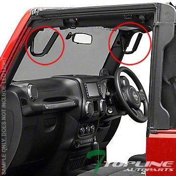 Topline Autopart Black Solid Steel Front Door Jamb Light Lamp Bar Mount Hand Grab Handle Hook Bars FRC For 07-17 Jeep Wrangler JK ()