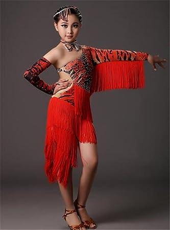 c9fe50cfa peiwen Chicas de Danza Latina Profesional/Vestido de Borla/niños ...