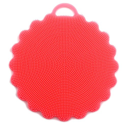 Food-Grade Antibacterial Silicone Non Stick Dishwashing Brush Dish Towel Scrubber for Kitchen Wash Pot Pan Dish Bowl/Wash Fruit and Vegetable (1pcs Pink)