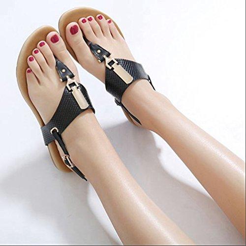 Métallique Noir Flat Mode Femme Boucle d'été Flip Beach Sandales Confort Slingback Noir Flops Thong 07xnZWawAn
