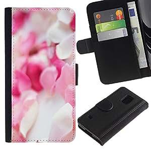 EuroTech - Samsung Galaxy S5 V SM-G900 - Flower Petals Pink White Pile Decoration - Cuero PU Delgado caso Billetera cubierta Shell Armor Funda Case Cover Wallet Credit Card