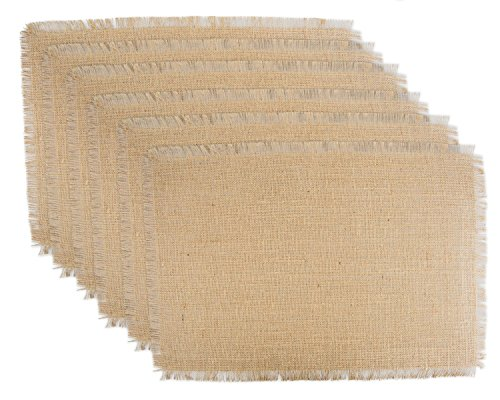 DII 100% Jute, Rustic, Vintage Placemat, for Parties, BBQ's, Everyday, Holidays Use, Natural, Set of 6