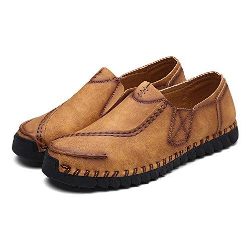 Sur Pont Bateau Cuir Hommes Chaussures En Glissement Brun De Chaussures Les Eastlion Oisif qaxa0Pw
