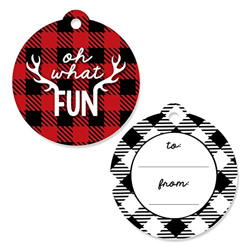 Big Dot of Happiness Prancing Plaid – Christmas and Holiday Buffalo Plaid to and from Favor Gift Tags (Set of 20)