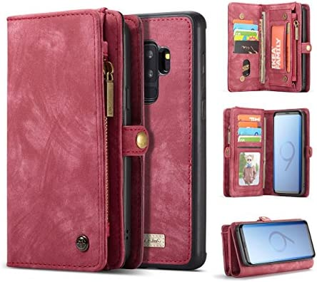 Galaxy S9 Plus Wallet Case,AKHVRS Handmade Premium Cowhide Leather Wallet Case,Zipper Wallet Case [Magnetic Closure]Detachable Magnetic Case & Card Slots for Samsung Galaxy S9 Plus - Red