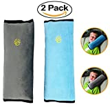 Seatbelt Pillow – Car Seat Belt Cover for Kids – Seat Belt Protector Cushion,Plush Comfy Soft Auto Safety Belt Strap Cover Headrest, Neck Support for Children Baby, Head Support for Child (Blue)(Gray)