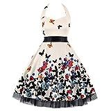 Lmtime Xmas Maxi Dress Women Vintage Elegant Christmas Santa Printed Halter Sleeveless Party Prom Swing A-Line Dresses