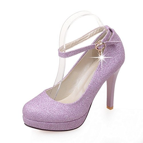 BalaMasa Womens Sequin Studded Rhinestones Metal Buckles Ankle Cuff Sequins Pumps-Shoes Purple zAne5LNC