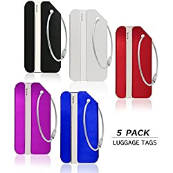 Luggage Tags,Tikesiho Aluminum Luggage Tags & Bag Tags Travel ID Labels Tag For Baggage Suitcases Bags, 5 PACK