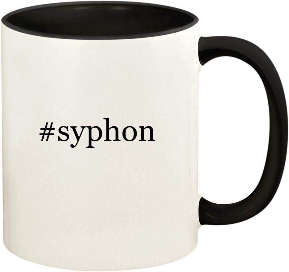 #syphon - 11oz Hashtag Ceramic Colored Handle and Inside Coffee Mug Cup, Black