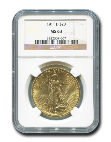 1911 D Saint Gaudens Twenty Dollar NGC MS-63