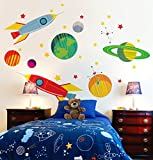 Oopsy Daisy Galactic Travels Peel and Place, Green/Orange, 54'' x 45''