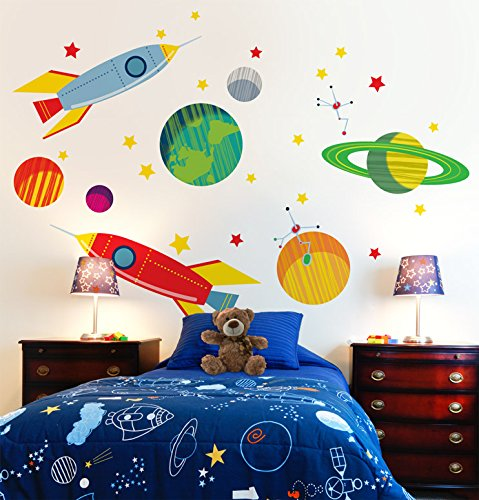Oopsy Daisy Galactic Travels Peel and Place, Green/Orange, 54'' x 45'' by Oopsy Daisy