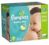 Pampers Baby Dry Diapers Economy Pack Plus Size 2 - 222 Count, New