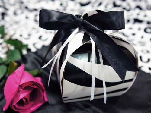 BalsaCircle 100 pcs 3.5-Inch Black and White Zebra Unique Cupcake Purse Favor Boxes for Wedding Party Birthday Gifts Decorations