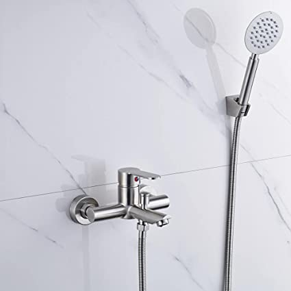 Wall Mount Bathtub Faucet Single Handle Bathroom Bath Tub Faucet System  With Hand Shower Plumbing Fixtures