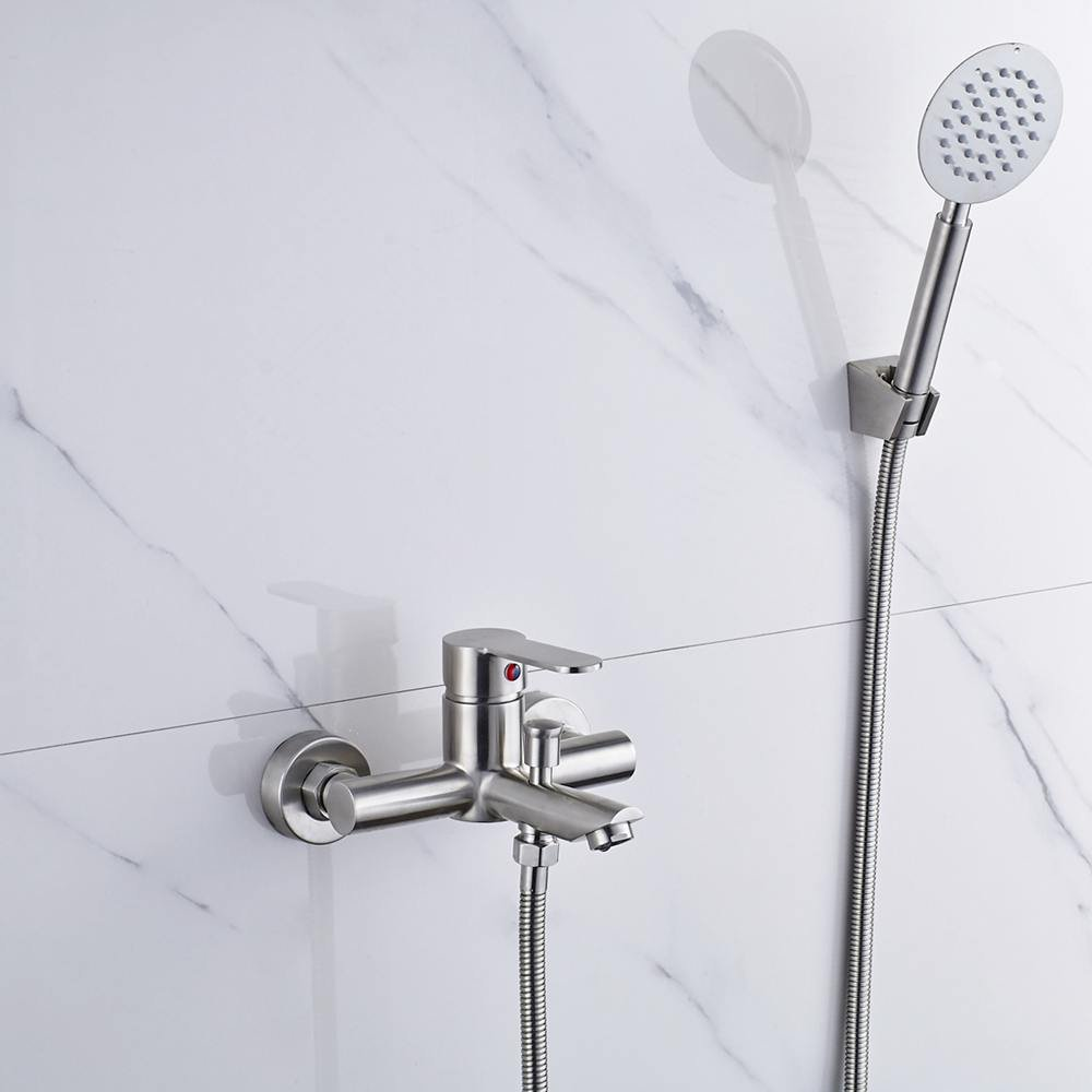 Wall Mount Bathtub Faucet Single Handle Bathroom Bath Tub Faucet System with Hand Shower Plumbing Fixtures Two Holes Faucet Stainless Steel Brushed