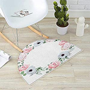 "Anemone Flower Semicircle Doormat Delicate Peony Rose Brunia Eucalyptus Leaves Round Wreath Halfmoon doormats H 15.7"" xD 23.6"" Almond Green Pale Pink White 33"