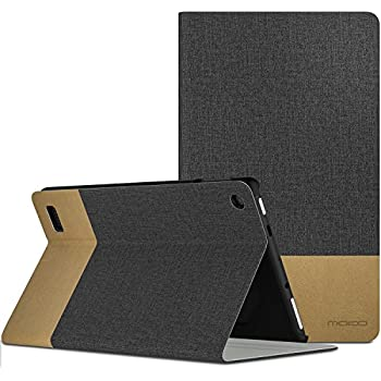 MoKo Case for All-New Amazon Fire 7 Tablet (7th Generation, 2017 Release Only) - Light Weight Shock Proof Stand Folio Cover Protector for Fire 7, Dark Gray & Brown (with Auto Wake / Sleep)