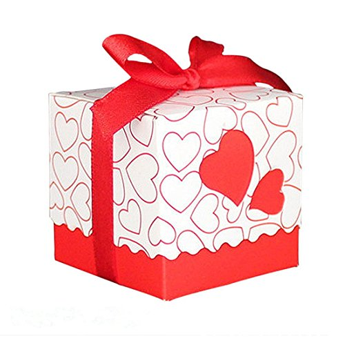 Decorative Red Heart Gift Box (Candy Box, Yamix 50Pcs European Style Love Heart Pattern Favor Candy Box Gift Box with Ribbon DIY Wedding Party Baby Shower -)