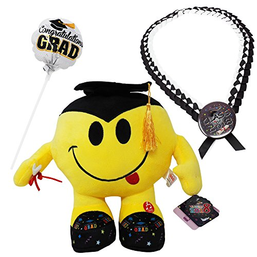 Graduation Plush Emoji Bundle Set: Adorable Plush Toy w/Diploma + Balloon w/Congratulating Message + Graduation Necklace in Deluxe Plastic Box  Great Congratulations/Preschool … -