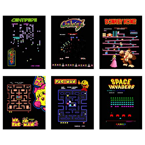 Poster Print Set - N&T Classic Arcade Poster Prints - Set of Six (8x10) Video Game Wall Decor - Donkey Kong - Space Invaders - Pac Man - Ms PacMan - Galaga - Centipede