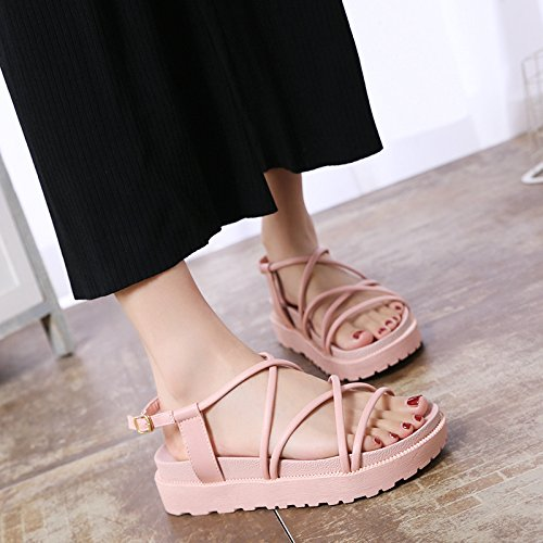 fondo toe fondo da antiskid confortevoli YMFIE scarpe piatto il estate Ladies' sandals toccò Pink toe bohemian a spiaggia wRRYI8SAq