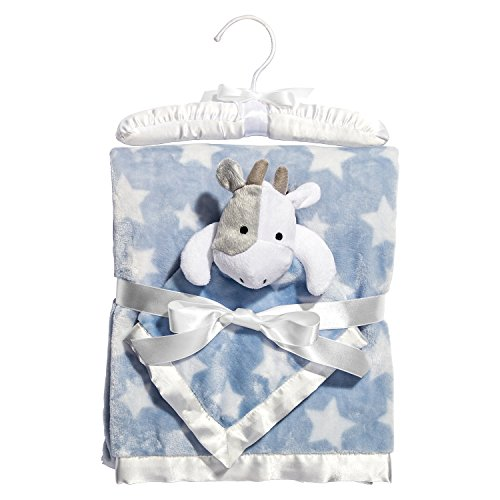 C.R. Gibson Hush Little Baby Plush Blanket and Cow Blankie Gift Set, By Baby Dumpling - Blue -