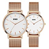 Men's and women's Commercial quartz watches,30m waterproof Stainless steel strap Simple pointers Ultra-thin Couple watch A pair of Leisure-B