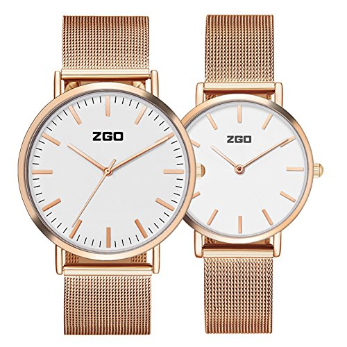 Men's and women's Commercial quartz watches,30m waterproof Stainless steel strap Simple pointers Ultra-thin Couple watch A pair of Leisure-B by FXBNHDFMF