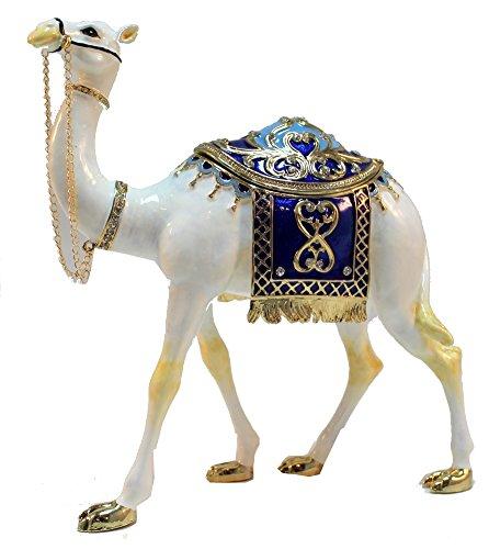 Jeweled Camel - White Standing Camel Jeweled Swarovski Crystal Hand Painted Enamel Decorative Trinket Box L 6.00 X H 7.00 X W 2.00