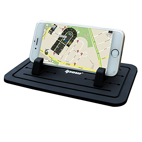 Price comparison product image First Generation,IPOW New Silicone Pad Dash Mat Cell Phone Car Mount Holder Cradle Dock For Phone Samsung S5/S4/S3/iPhone 4/5/5s/6/6S(plus) and GPS,BlackTable PC Holder