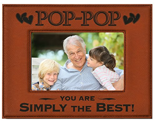 POP-POP You Are SIMPLY THE BEST! Engraved Leatherette Picture Frame ~ Fathers Day Gift Dad Birthday POP POP Christmas Gift Best POP-POP Ever Gift Grandpa