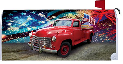 Patriotic Truck - Mailbox Makover Cover - Vinyl witn Magnetic Strips for Steel Standard Rural Mailbox - Copyright, Licensed and Trademarked by Custom Decor Inc.