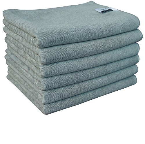 Gryeer Microfiber Kitchen Towels - Highly Absorbent, Soft and Lint Free Dish Towels - Great for Cooking in Kitchen, Household Cleaning, Bathroom and Garage,26x18 Inch, Pack of 6, Gray