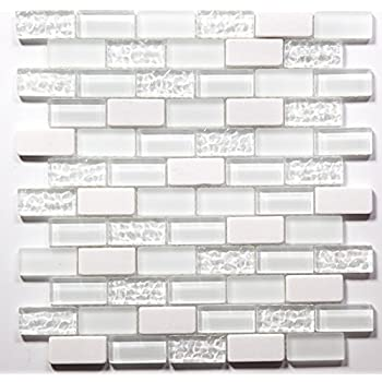 Super White Cleft Glass amp Bianco Marble Glass Mosaic Tile