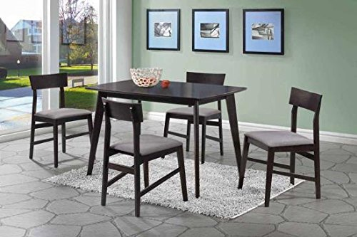 Coaster Dinettes 150347 5 PC Dining Set with 4 Chairs Square Table Grey Fabric Upholstered Seats Curved Backrests Asian Hardwood and Okume Veneer Material in Warm Grey