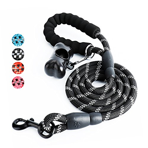 Toozey 5 FT Dog Leash, Rope Leash with Comfortable Padded Handle and Reflective Threads, Heavy Duty Braided Leash for Small Medium Large Dogs, Black