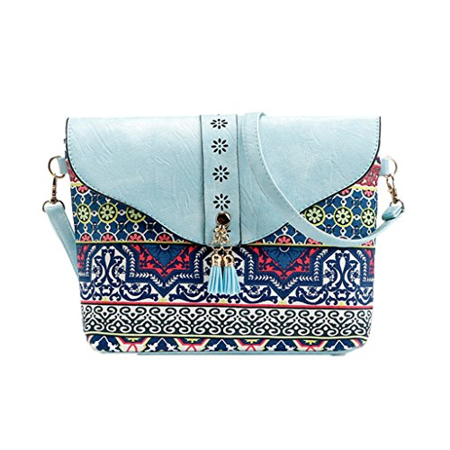 Crossbody Kofun Blue Tassel Sky Ladies Tote Messenger Handbag Shoulder Ladies Black Purse Bag rfx7YrUznq