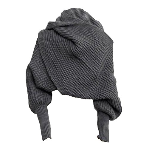 Autunm Winter Fashion Unisex Crochet Knitted Scarf Cape Shawl with Sleeves (Dark Grey)