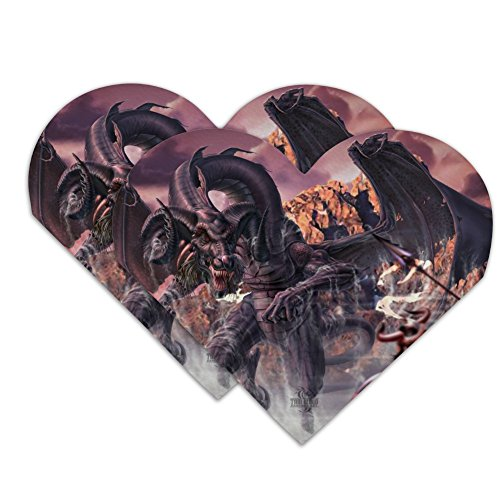 Set Attacking (Black Dragon Attacking Flying Fantasy Heart Faux Leather Bookmark - Set of 2)