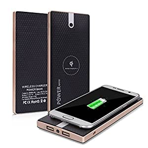 Qi Power Bank Cloele Cell Phone Portable Battery Pack Charger 8000Mah and Wireless Charger External Battery Pack 2 in 1 With Dual Fast Charging Port For IPhone 8 ,Samsung Galaxy Note 8 And More -Black