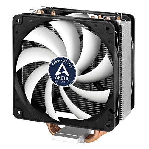 ARCTIC Freezer 33 Plus - Semi passive Tower CPU cooler for Intel 115X/2011-3 and AMD AM4 with 120 mm PWM Fan, Silent high performance cooler - Grey/Black