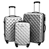 3 Piece Luggage Set Durable Lightweight Hard Case Spinner Suitecase LUG3 SS577A SILVER SILVER
