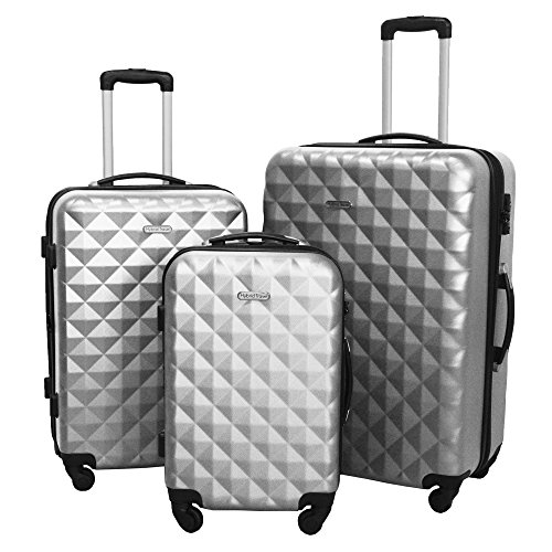 3 PC Luggage Set Durable Lightweight Hard Case Spinner Suitecase LUG3 SS577A SILVER SILVER